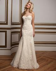 8811 A plunging sweetheart neckline with floa