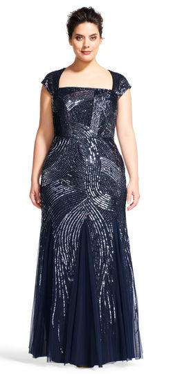 Luxe Collection Navy Beaded  Gown