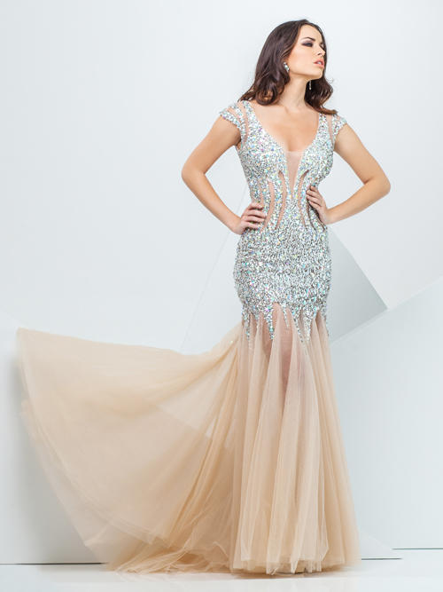 Tony Bowls Paris Beaded Evening Gown