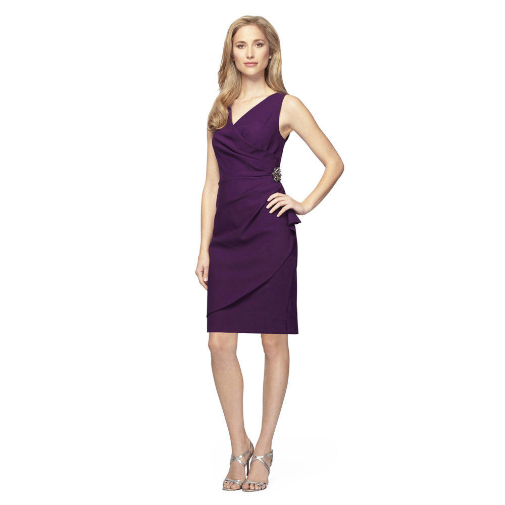 V-Neck Compression Dress with Ruched Waist