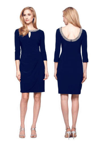 Dark Blue Jersey Dress with Sleeves & Beaded Neckline - Limited Availability