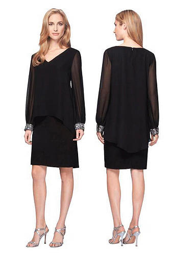 Black Jersey & Chifonn long sleeved dress with beaded cuffs