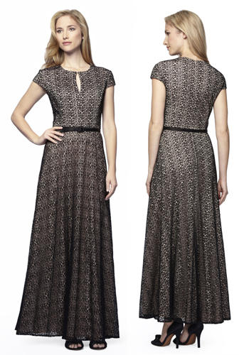Black/Nude Lace Classic Cut A-line Gown with Belt -  Limited Availability