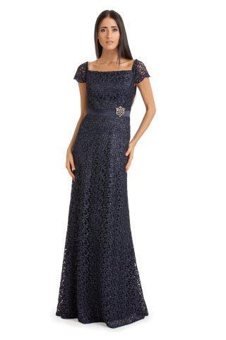 Classy Floor-Length Gown With Delicate Lace Overlay And Ornamented Waistband