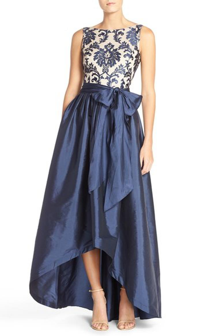 Navy & Nude Hi-Low Taffeta Ball Gown
