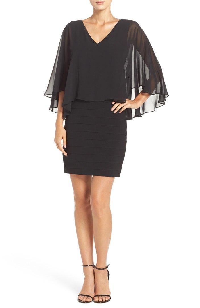 Black Chiffon & Jersey Cocktail Dress
