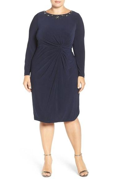 Luxe Collection Plus Size Cocktail Dress with Sleeves
