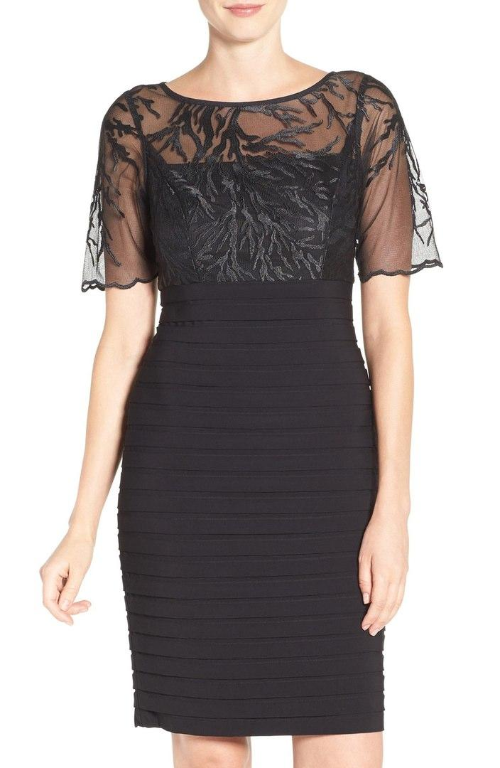 Luxe Collection Black cocktail dress with cap sleeves
