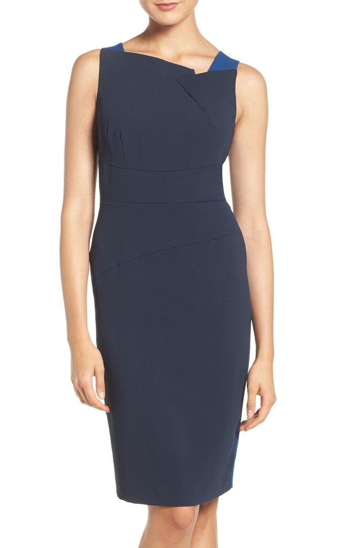 Missy & Plus Size Blue Sleeveless Cocktail Dress