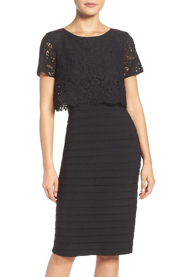Black Jersey Dress with Lace Popover