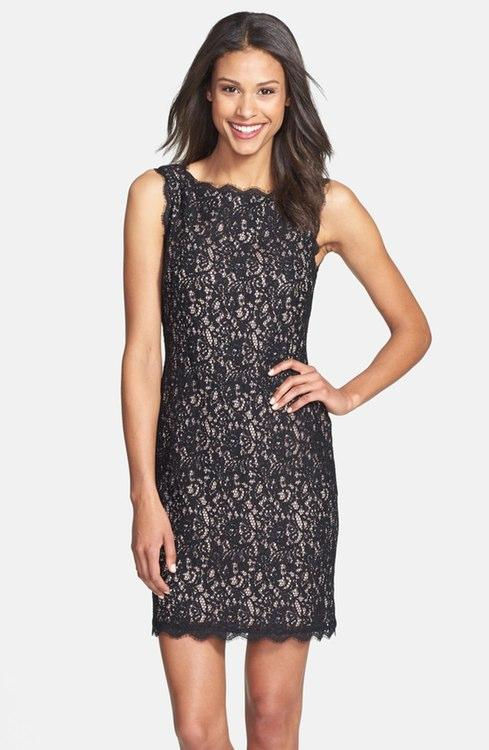 Black and Nude Lace Cocktail Dress