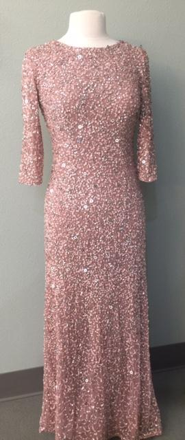 Stretch Sequinned 3/4 Sleeve Gown
