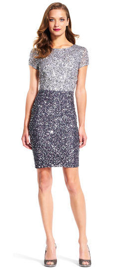 Sequin Two Tone Cocktail Dress