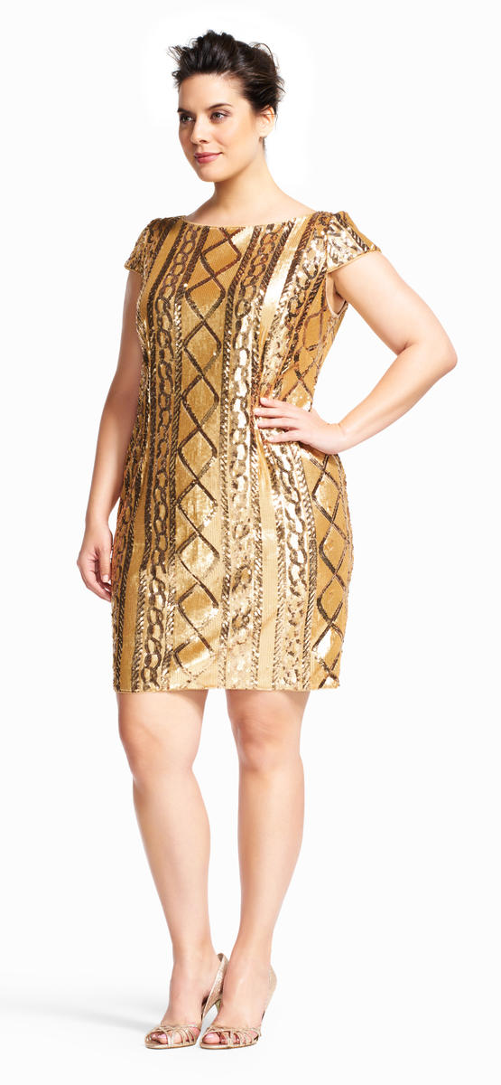 Plus Size Gold Cocktail Dress