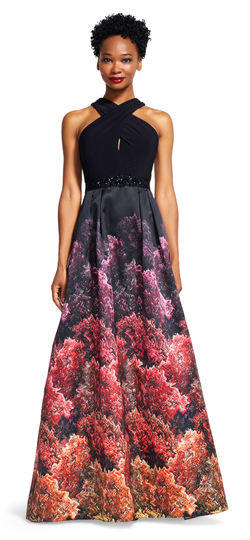 Halter Print Evening Gown