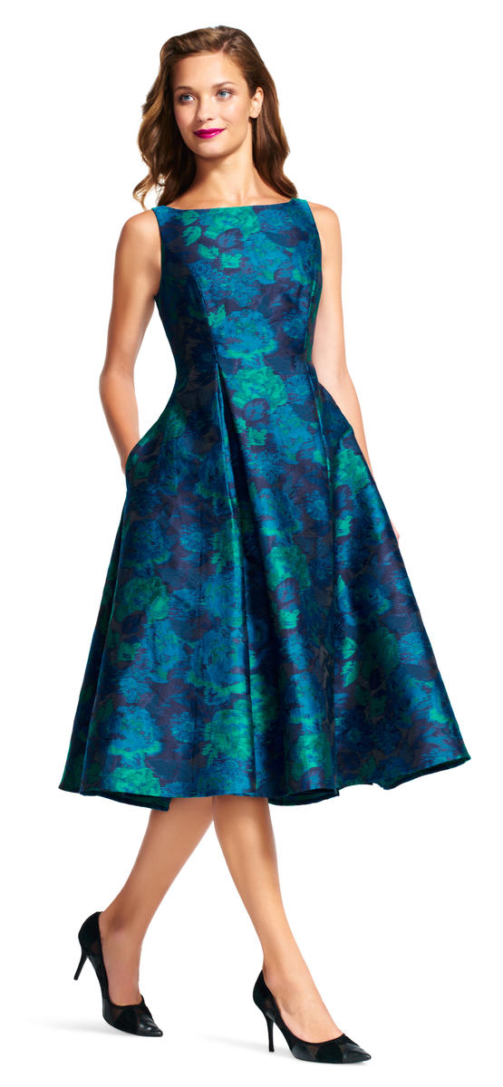Luxe Collection Blue Multi Tea Length Dress