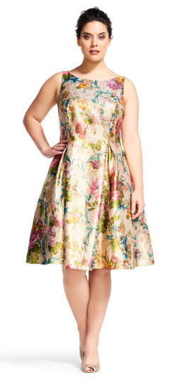 Women's Plus Size Floral Tea Length Dress