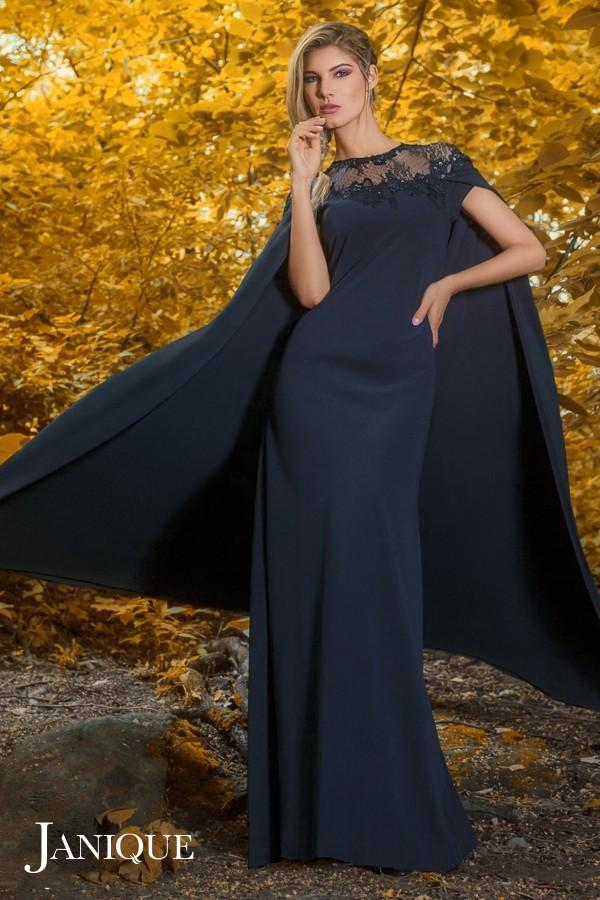 Lace Cape Evening Gown