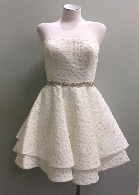 Ivory Strapless Eyelet Dress