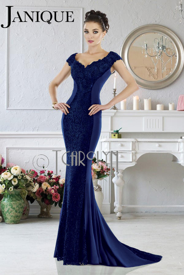 Elegant gown with off the shoulder style by Janique