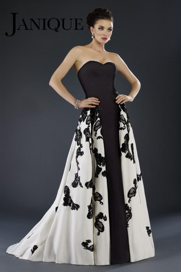 Strapless light and shadows gown with appliques by Janique