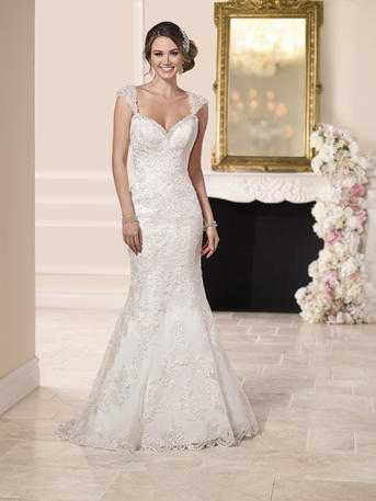 LACE OVER SATIN LOW BACK WEDDING DRESS