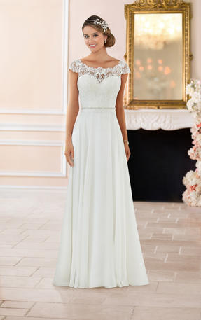 OFF THE SHOULDER LACE BACK WEDDING DRESS
