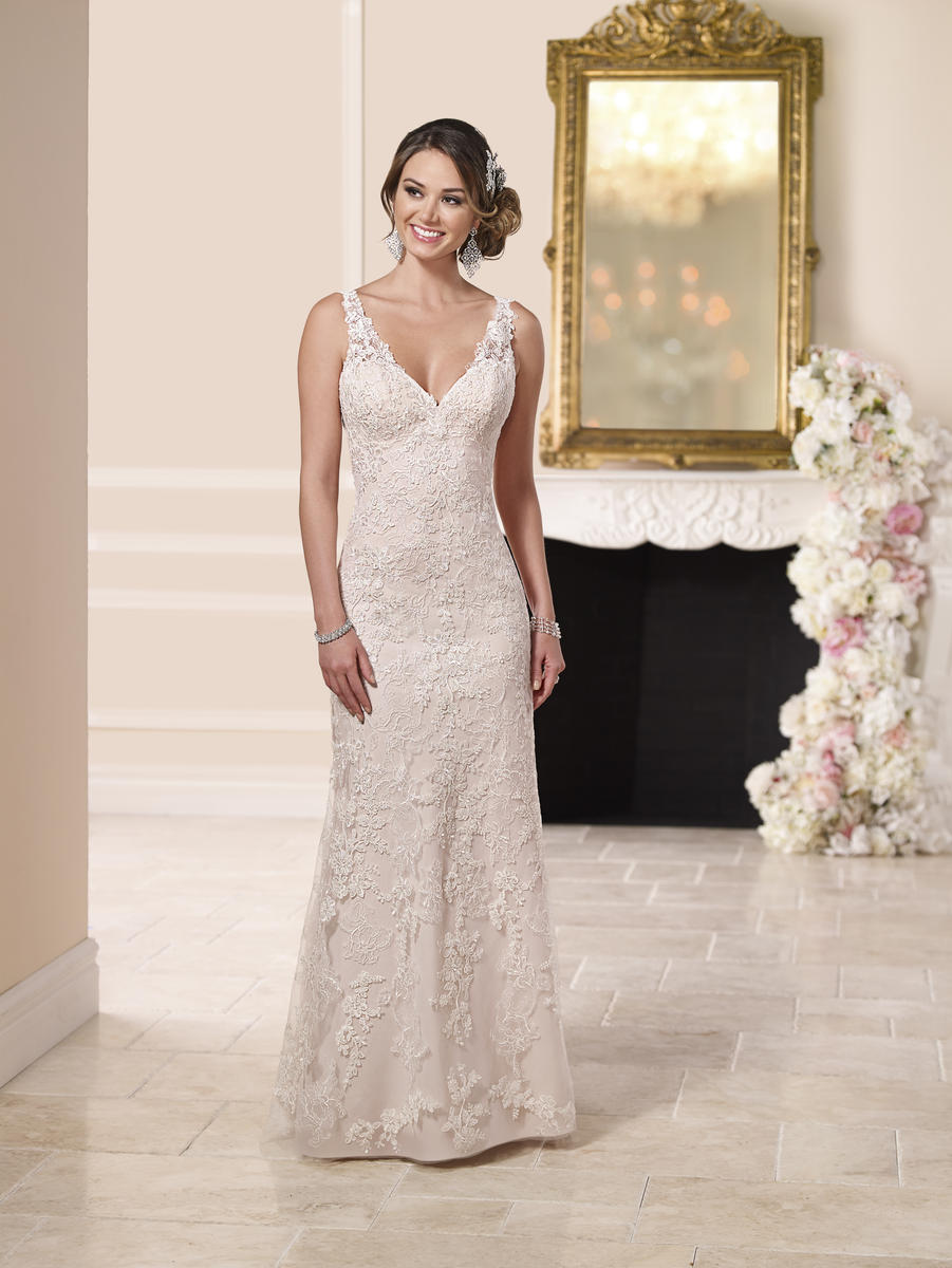 LACE OVER SATIN SHEATH WEDDING DRESS