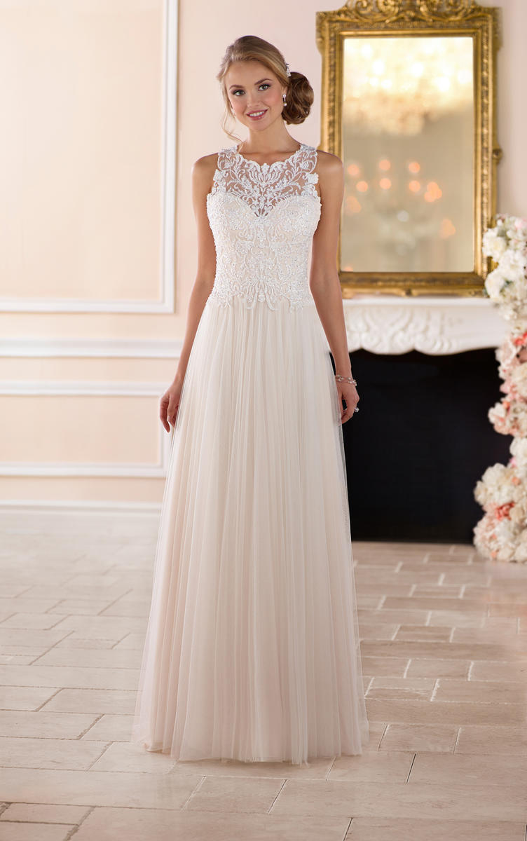 HIGH NECK WEDDING DRESS WITH LACE BACK