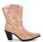 LB-0290-11-Gold Short Bling Boots