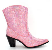 LB-0290-11-Pink Short Bling Boots