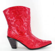 LB-0290-11-Red Short Bling Boots