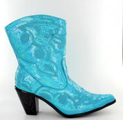 LB-0290-11-Turquoise Short Bling Boots