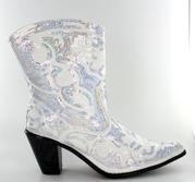 LB-0290-11-White Short Bling Boots
