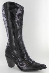 LB-0290-12-Black Black Sequin Boots