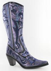 LB-0290-12-BlackBlue Bling Boots