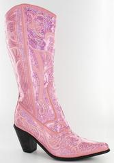 LB-0290-12-Pink Pink Sequin Boots