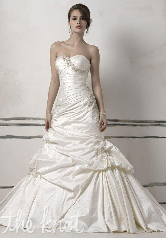 Justin Alexander stunning silk dupion mermaid style gown with a chapel length