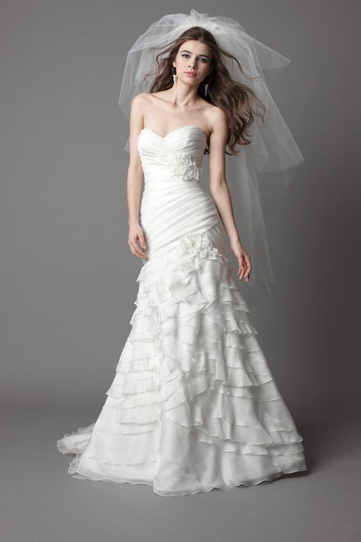 Watters Ivory soft organza strapless gown with pleated bodice
