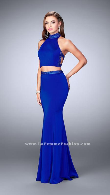 Two Piece La Femme Dress with a Strappy Open Back