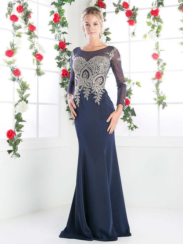 CD Illusion Embellished Long Evening Dress
