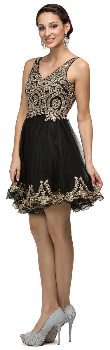 9422 DQ Short VNeck Tulle Dress