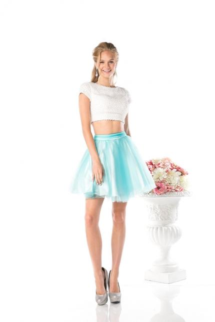 CD Two Piece Short Sleeve Homecoming Dress