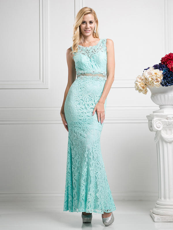 CD Sleeveless Mock Two-Piece Evening Dress