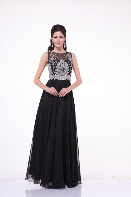 CD Embellished Illusion Bodice Formal Dress