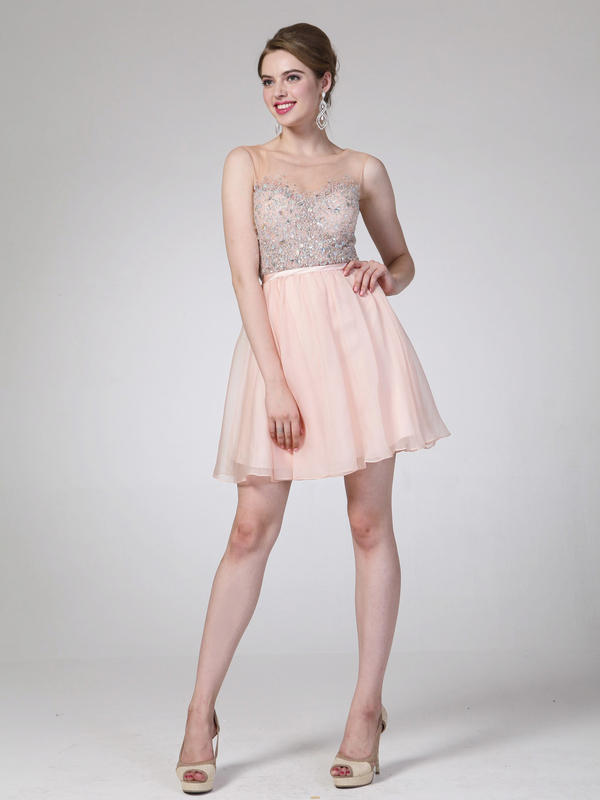 Illusion Jeweled Bodice Homecoming Dress
