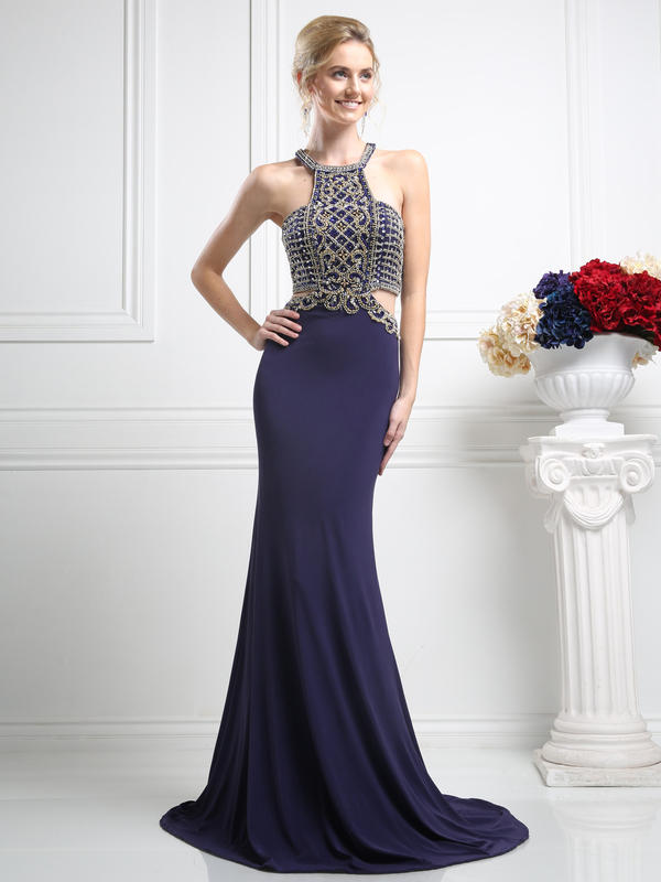 CD Embellished Halter Prom Evening Dress