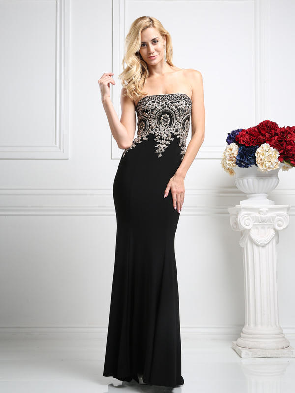 CD Strapless Embellished Evening Gown