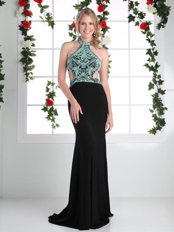CD Halter Gown with Open Back