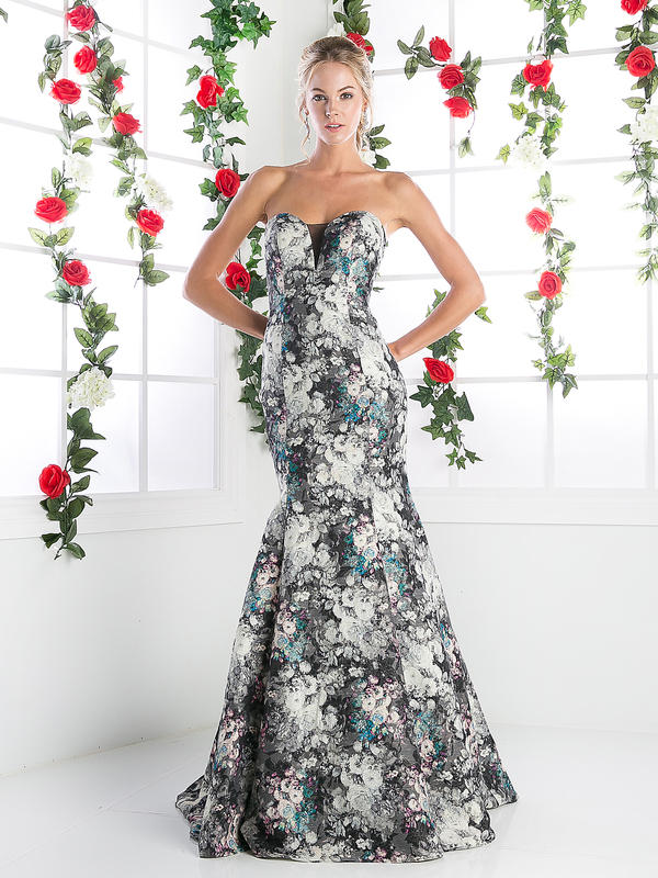 CD Strapless Floral Print Mermiad Gown